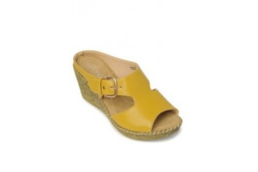 Yellow Beatrice Wedges Slide
