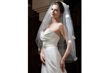 Two-tier Fingertip Bridal Veils With Cut Edge (006034106)