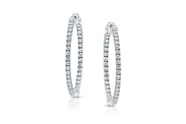 14k White Gold 4-Prong Setting Round Diamond Hoop Earrings 1 ct. tw. w/ Patented Safety Lock