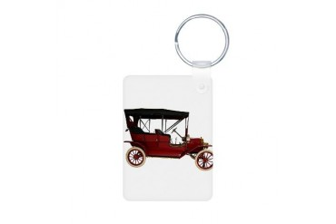 red antique car Car Aluminum Photo Keychain by CafePress