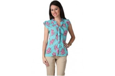 Now & Forever Now Forever Rose Cap Sleeve Tosca Blouse with Tie