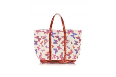 Les Cabas Butterfly Printed Canvas and Sequin Medium Tote