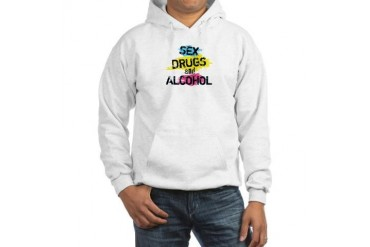 Sex Drugs And Alcohol Vintage Hooded Sweatshirt by CafePress