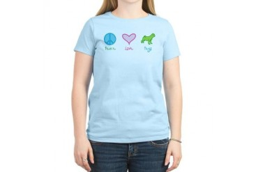 Peace Love Pugs Women's Light T-Shirt