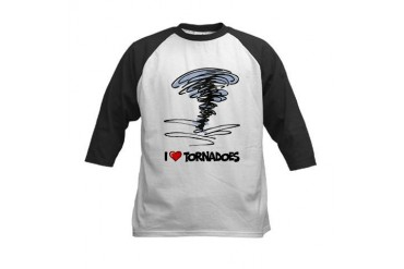 I Love Tornado Kids Baseball Jersey
