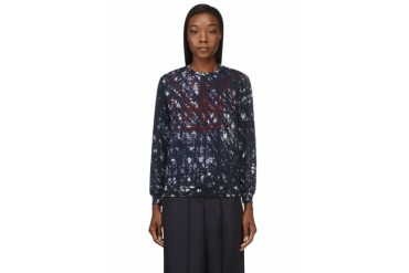 Carven Navy Brush stroke Embroidered Sweater