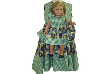 Matching Girls and Doll Clothes Gingham Dress With Purse Size 4