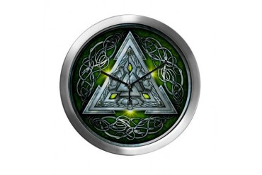 Norse Valknut - Green Celtic Modern Wall Clock by CafePress