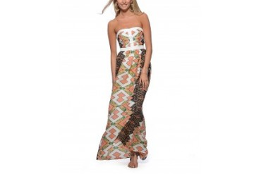 Lavender Brown Geometric Placed Print Strapless Maxi Dress Multi, M