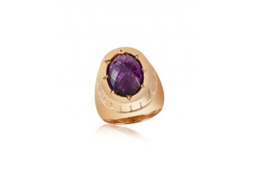 Tropezienne - Oval Amethyst Hydrothermal Stone Ring