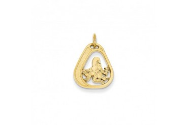 Virgo Satin and Textured Triangular Charm in 14K Yellow Gold