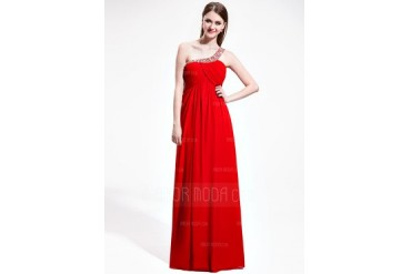 Empire One-Shoulder Floor-Length Chiffon Prom Dress With Ruffle Beading Sequins (018025616)