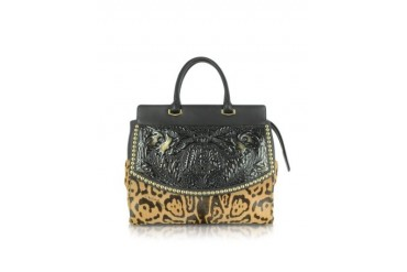 Aphrodite Jaguar Printed Haircalf and Black Leather Tote