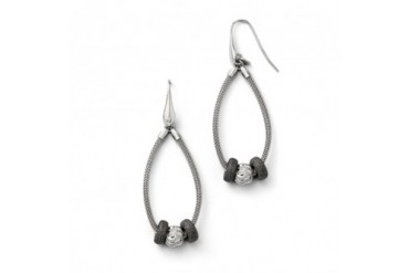 Two-Tone Three Bead Mesh Chain Dangle Earrings in Sterling Silver