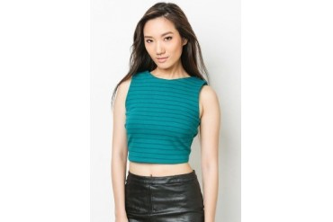 Blue Stripes Cropped Top