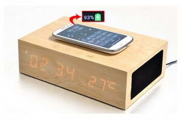 Wooden Qi Wireless Charger/Speaker/Clock