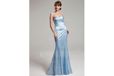 Trumpet/Mermaid Sweetheart Floor-Length Charmeuse Bridesmaid Dress With Ruffle (007000891)