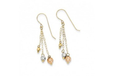 14k Tri-color Gold 3-Strand Bead and Chain Dangle Earrings