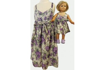 Matching Girl Doll Clothes Purple Flower Sundress Size 7