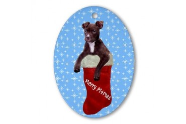 Merry Pitmas Oval Ornament