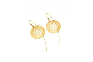 Golden Silver Etched Crop Circle Round Drop Earrings