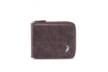Polo Metal Logo Zippered Leather Wallet