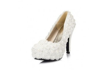 Women's Leatherette Stiletto Heel Closed Toe Pumps With Stitching Lace (047047868)