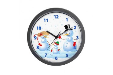 Snowman Family Family Wall Clock by CafePress