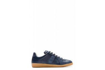 Maison Martin Margiela Navy Leather And Suede Classic Replica Sneakers