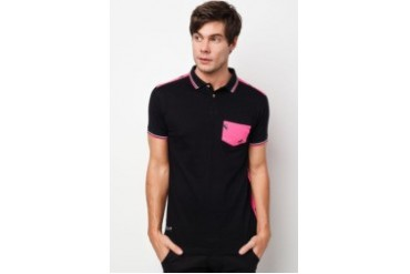 Private Stitch Contrast Pocket Polo T-Shirt and Back