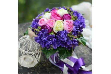 Fancy Round Satin Bridal Bouquets (124032112)
