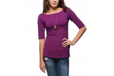 Susana Monaco U Back Elbow Sleeve Top Purple, S
