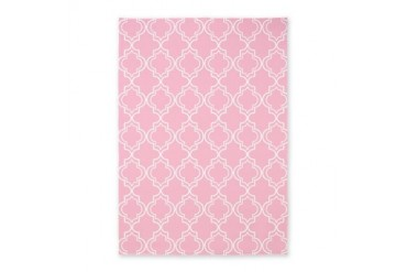 Light Rose Pink Moroccan Quatrefoil 5'x7'Area Rug