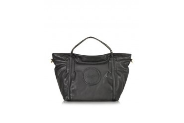Black Studded Eco Leather Shopping Bag