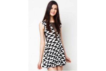 LASH Multi Pattern Dress with Mesh Inserted