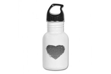 Silver Heart Romance Kid's Water Bottle by CafePress