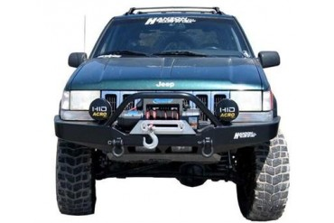 Hanson Offroad Winch Guard Front Winch Bumper with D-ring Mounts JZJ1202-P Front Bumpers