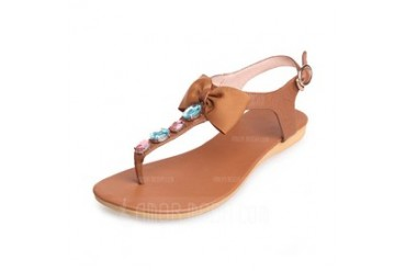 Real Leather Flat Heel Sandals Flip-Flops With Rhinestone Bowknot shoes (087046796)