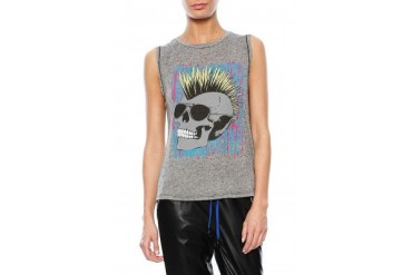 Color Toxic Skull Sleeveless Muscle Tank in Black - designed by Lauren Moshi