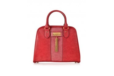 Red Lizard Print Eco Leather Satchel