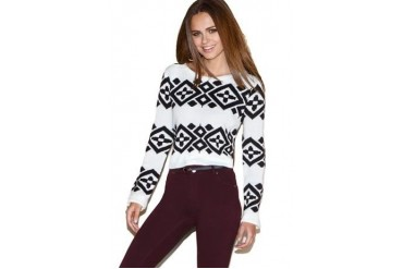 Aztec crop sweater
