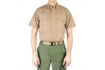 Men's Short Sleeve Tactical Shirts - Men's Short Sleeve Tactical Shirt-Coyote Brown-X-Large