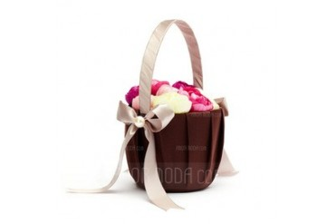 Lovely Flower Basket in Satin With Bow (102037490)