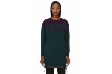 Sacai Luck Green Oversized Lucky Crewneck Sweater