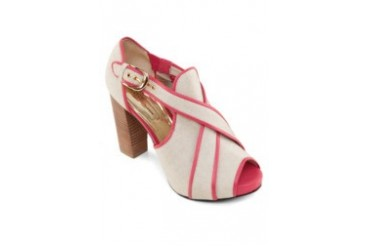 Satryani by Shoeville Contrast Colour Piping Heels
