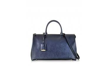 Large Jil Bag Dark Blue Metallic Knitted Leather Satchel