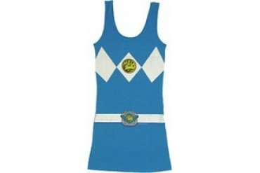 Mighty Morphin Power Rangers Blue Suit Costume Snug Fit Tank Top Dress