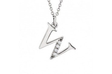 The Kelly 14K White Gold Diamond Lower Case Letter w Necklace, 16 in
