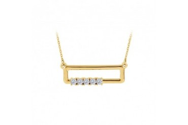CZ Rectangle Necklace For Mother in Yellow Gold Vermeil