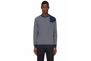 Sacai White And Navy Striped Sweater